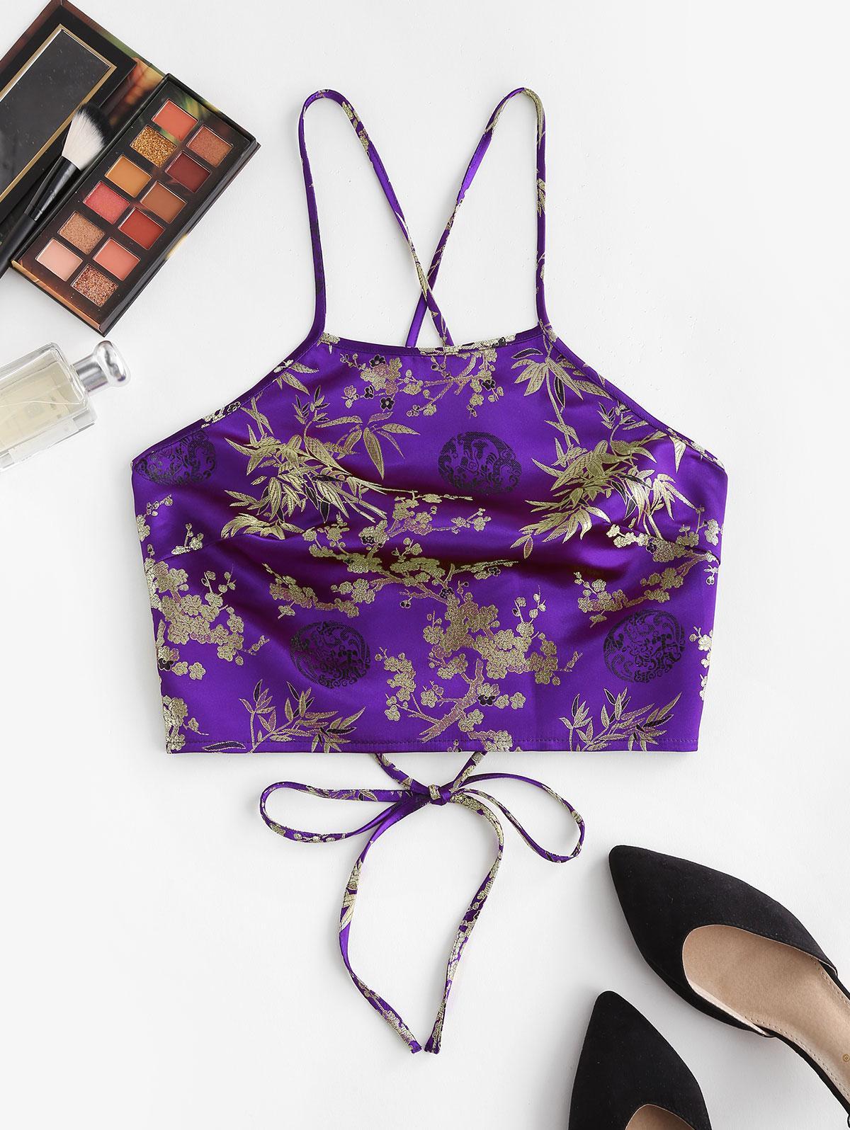ZAFUL Flower Jacquard Lace Up Crop Cami Top