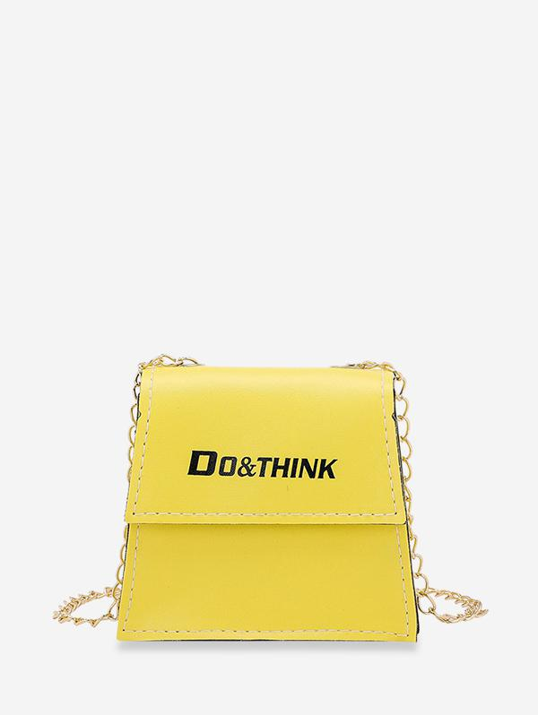 Letter Print Chain Crossbody Bag
