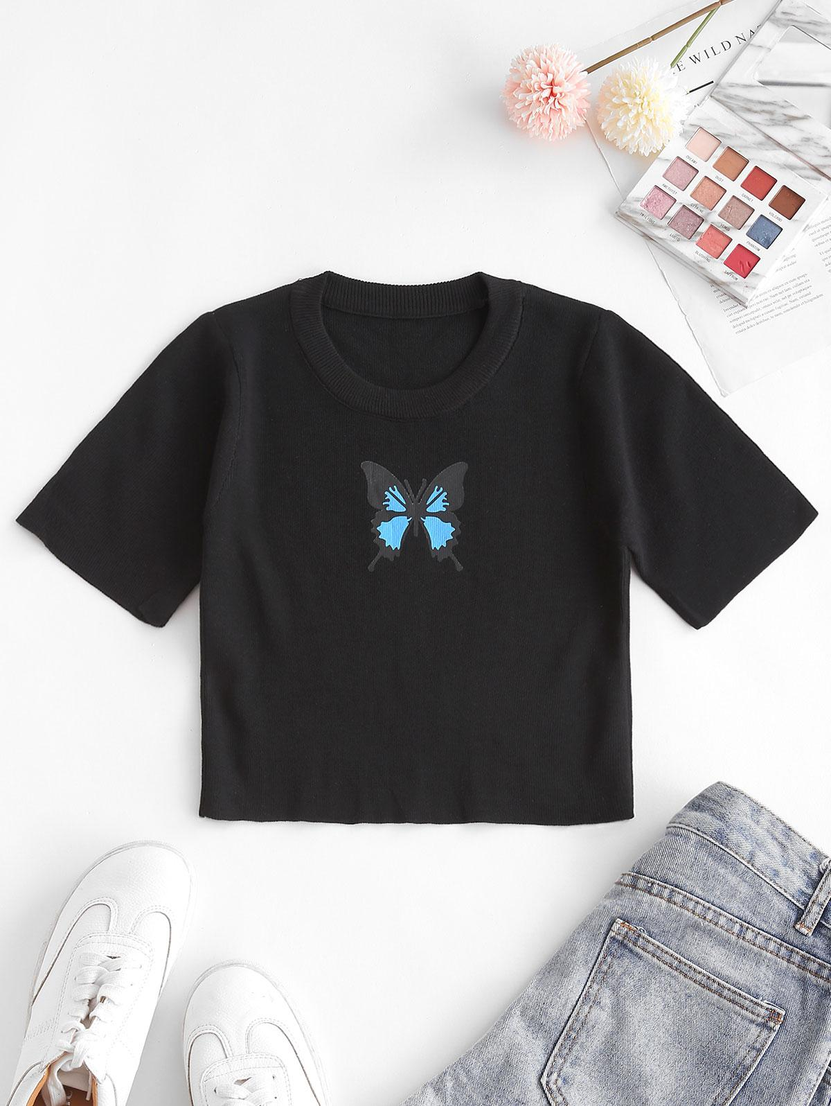 Knitted Butterfly Print Crop Tee
