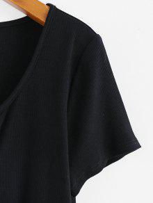 48% OFF] 2020 ZAFUL Camiseta Corta Con Nudo Delantero En