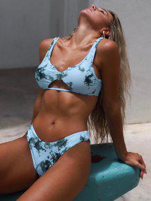 ZAFUL V-الشق انقطاع صبغ التعادل بيكيني ملابس السباحة - رمادي الفيروز S