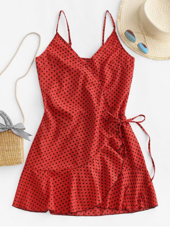 women's Polka Dot Spaghetti Strap Wrap Dress - CHERRY RED S