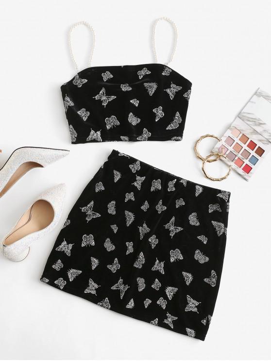 shops Metallic Butterfly Velvet Faux Pearl Straps Mini Skirt Set - BLACK S