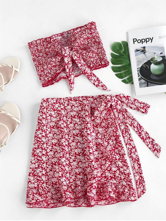 best ZAFUL Tie Ditsy Print Ruffle Smocked Two Piece Dress - LAVA RED M