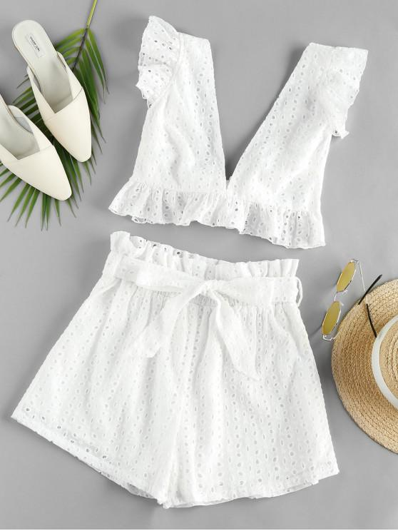 lady ZAFUL Eyelet Ruffle Plunging Belted Shorts Set - MILK WHITE M