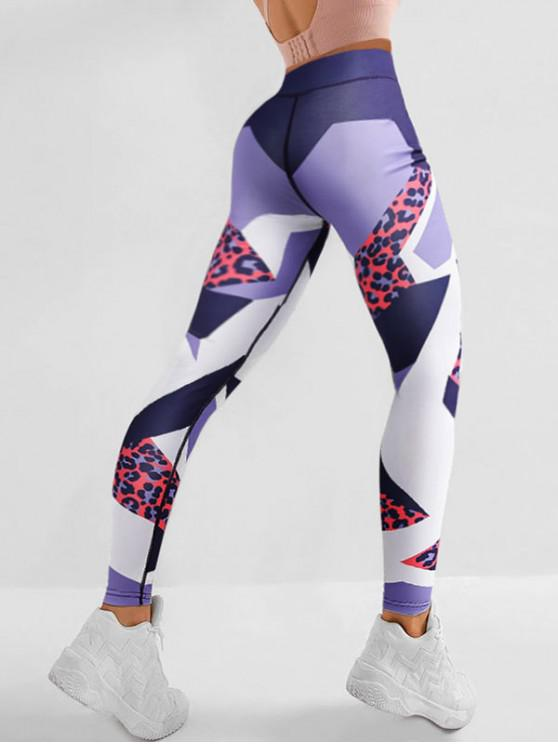 trendy Leopard Print Colorblock Mid Waist Leggings - LEOPARD S