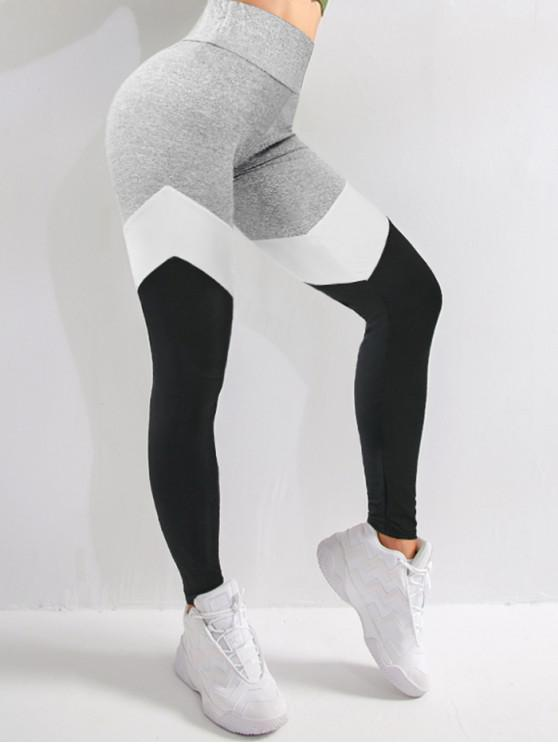 affordable Colorblock High Waist Sports Leggings - MULTI-A S