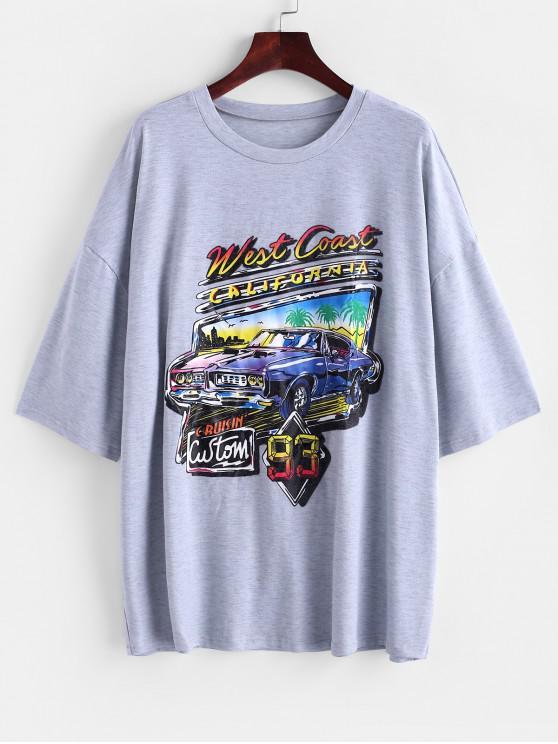 sale Letter Car Print Drop Shoulder Longline T-shirt - LIGHT GRAY L