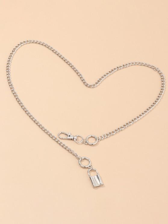 women Alloy Lock Geometric Chain Necklace - SILVER