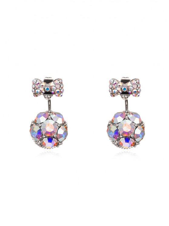trendy Bowknot Ball Two Ways To Wear Earrings - MULTI-A