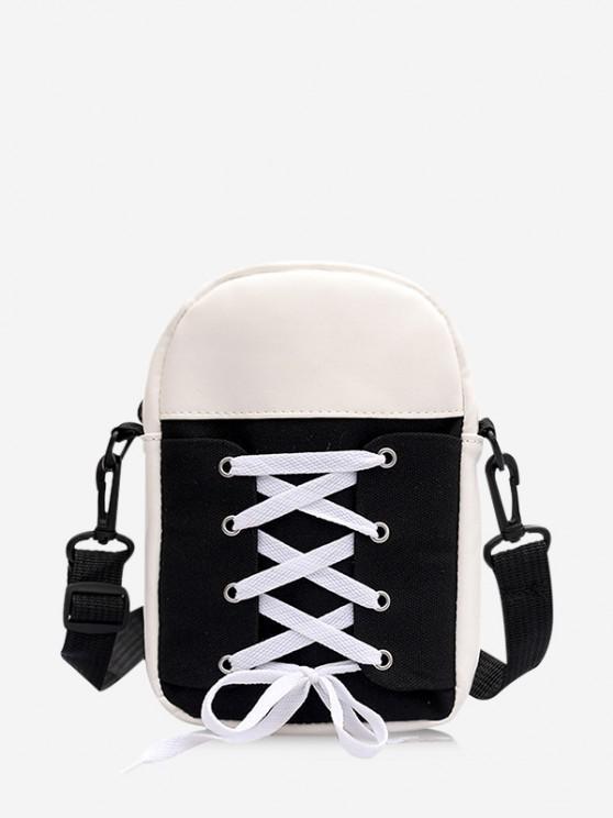 trendy Canvas Lace Up Crossbody Bag - BLACK