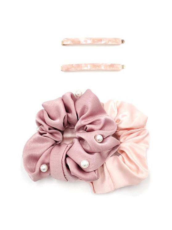 womens 4Pcs Faux Pearl Fabric Scrunchie Hairgrip Set - LIGHT PINK