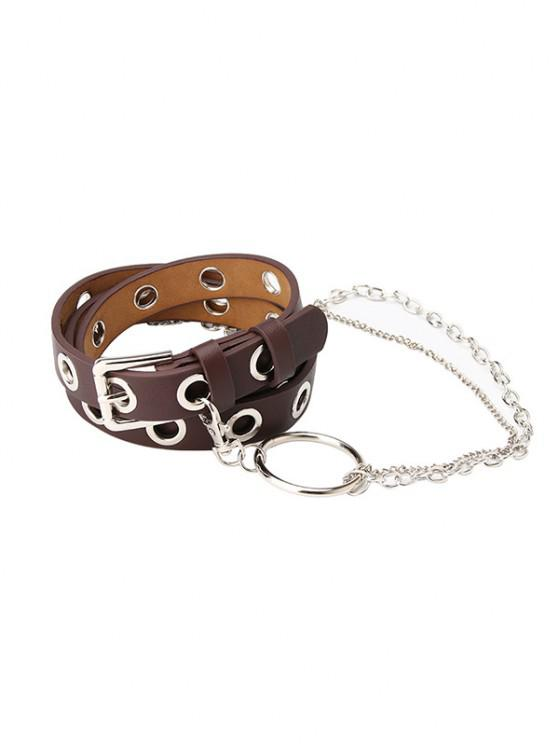 outfit Punk Chain Hole Pin Buckle Belt - DEEP COFFEE