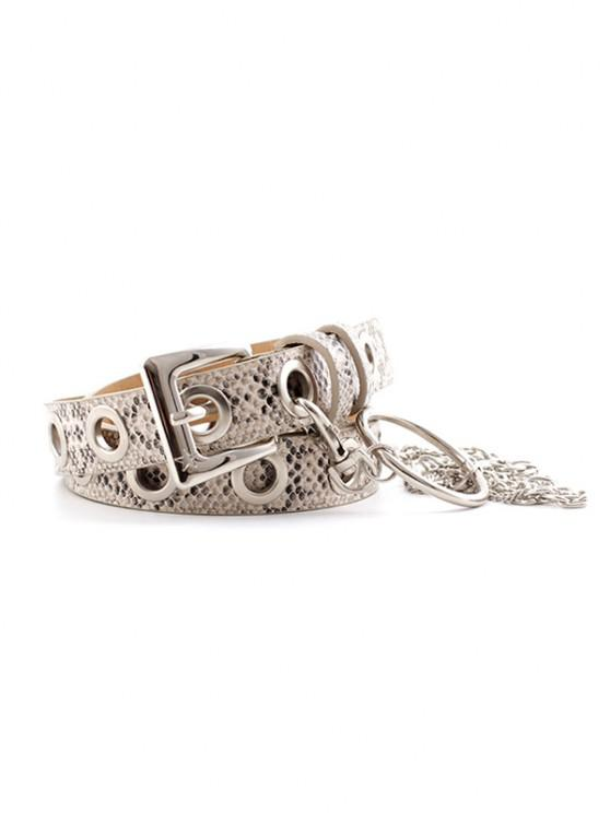 outfits Snakeskin Pattern Chain Pin Buckle Belt - WHITE