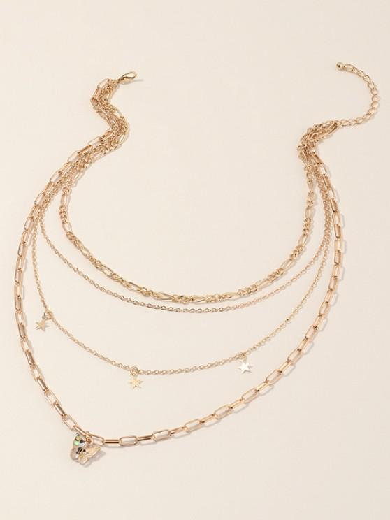outfits Star Butterfly Multilayered Chain Necklace - GOLDEN