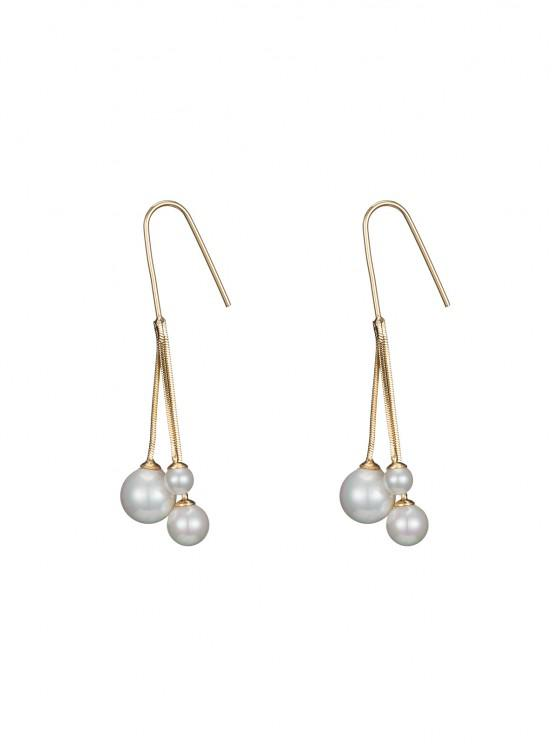 trendy Minimalist Tassel Faux Pearl Earrings - GOLDEN