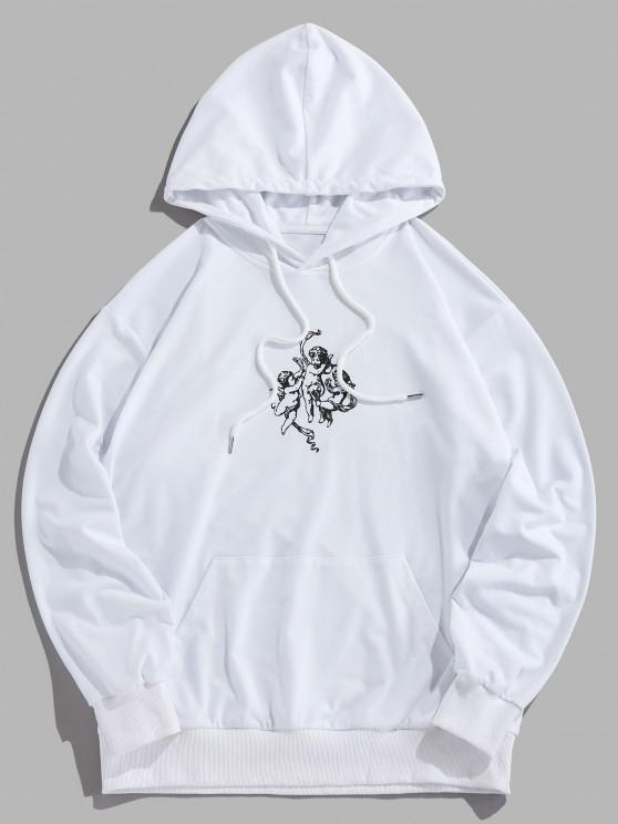 unique Angel Renaissance Print Hoodie - WHITE S