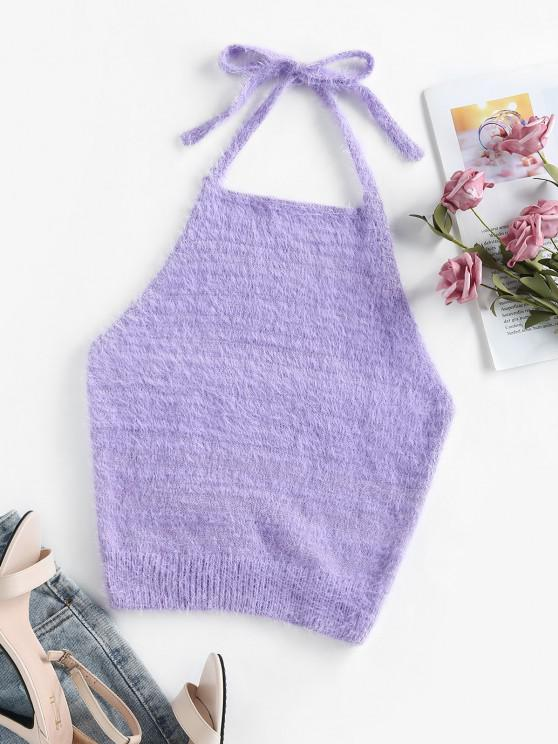 trendy ZAFUL Halter Fuzzy Backless Sleeveless Sweater - LIGHT PURPLE M