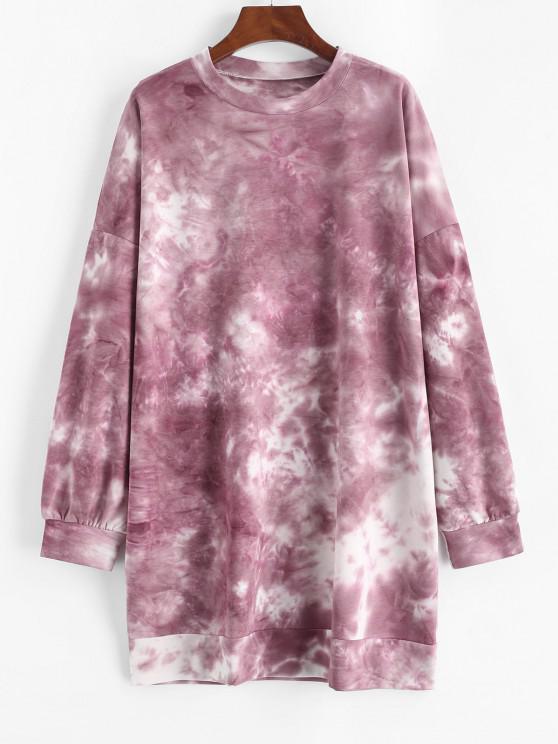 Vestido Suéter Tamanho Grande Ombro Caído com Corda - Vermelho M