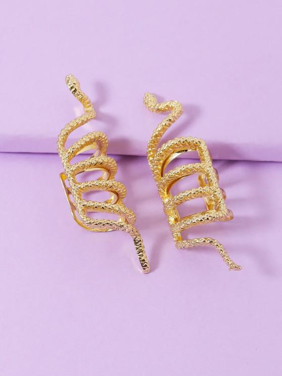 online Textured Snake Design Ear Cuffs - GOLDEN