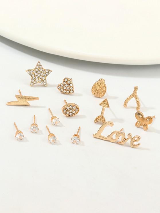 women's 14Pcs Rhinestone Butterfly Stud Earrings Set - GOLDEN