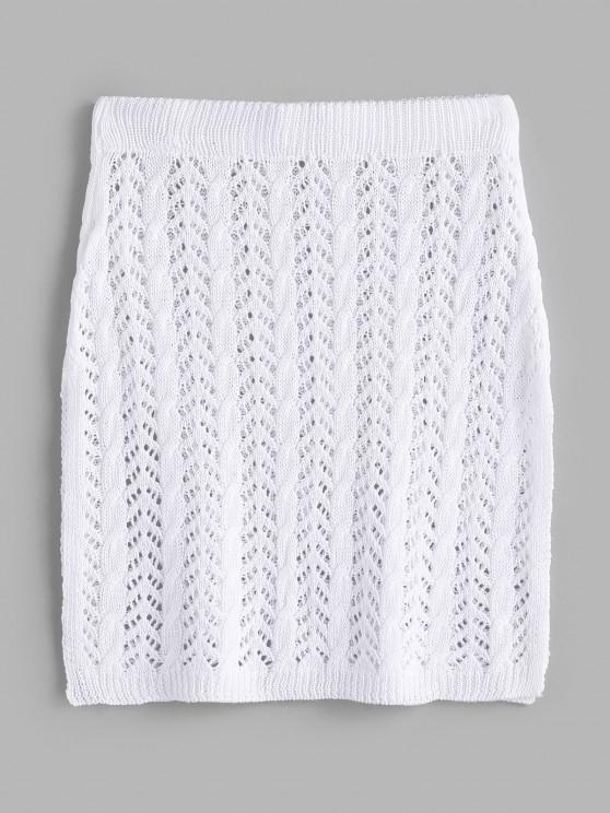 Crochet Knit Side Slit Beach Skirt - أبيض حجم واحد