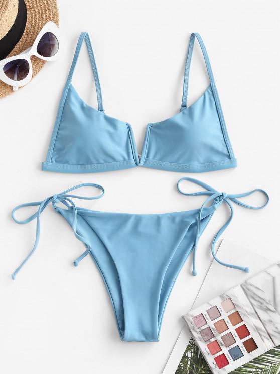 unique ZAFUL V Wired Tie Side String Bikini Swimwear - BLUE M