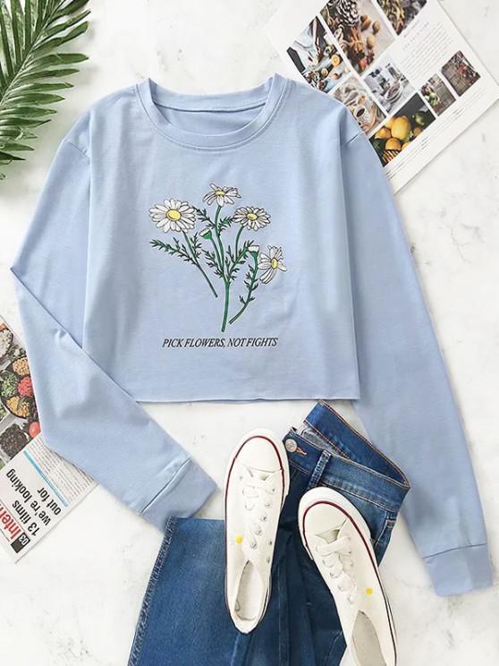 Moletom da Bainha de Ombro da Gota com Estampa de Flor - Cinza Azulado S