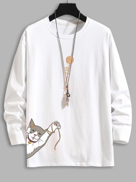 Camiseta com Impressão Gráfica e Gato Básico - Branco 2XL