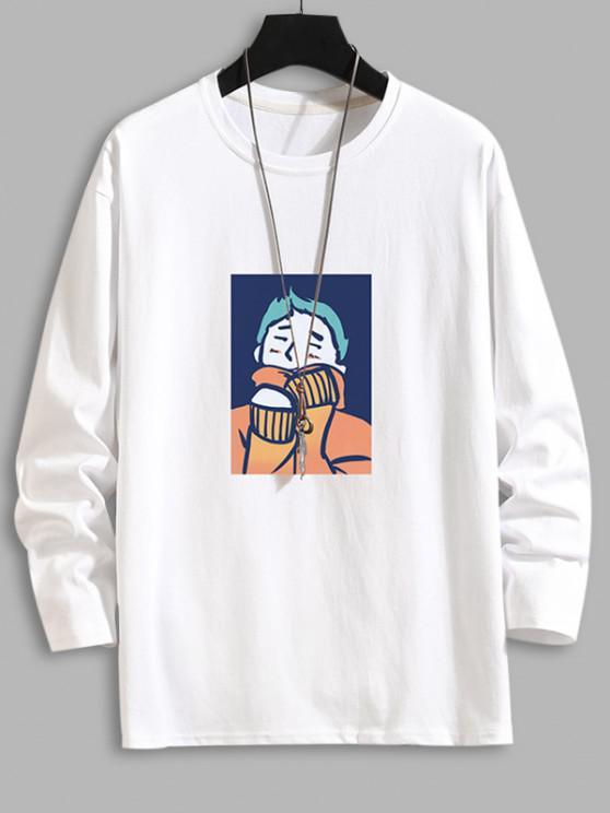 Cartoon Graphic Drop Shoulder Crew Neck T Shirt - أبيض 2XL