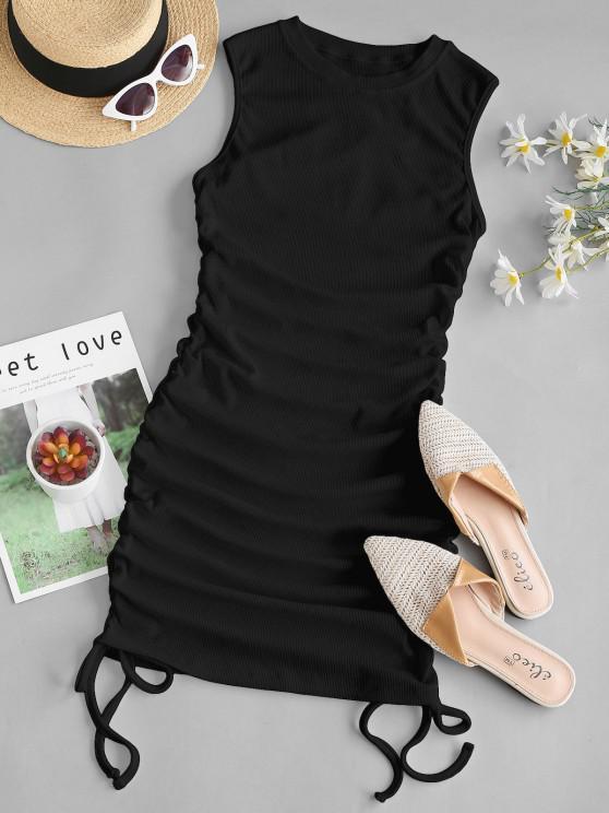 trendy Ribbed Cinched Side Tank Dress - BLACK L