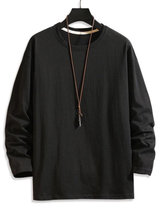 hot Plain Drop Shoulder Crew Neck T Shirt - BLACK 4XL