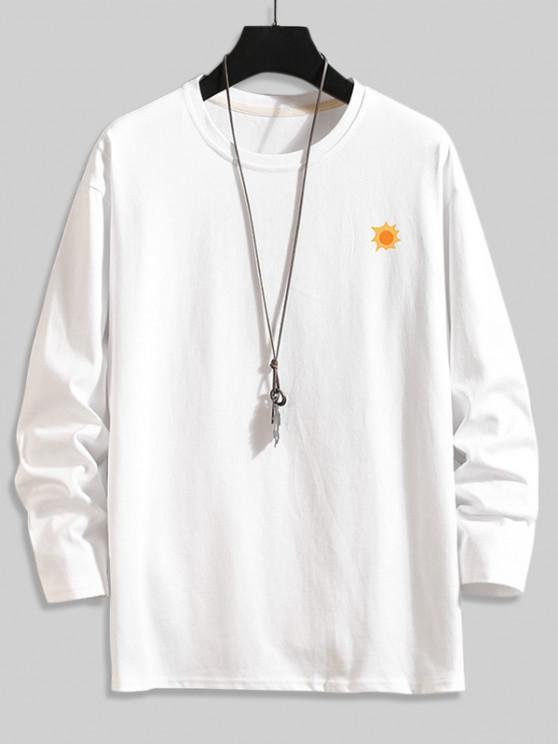 Camiseta Básica con Estampado de Árboles - Blanco 3XL