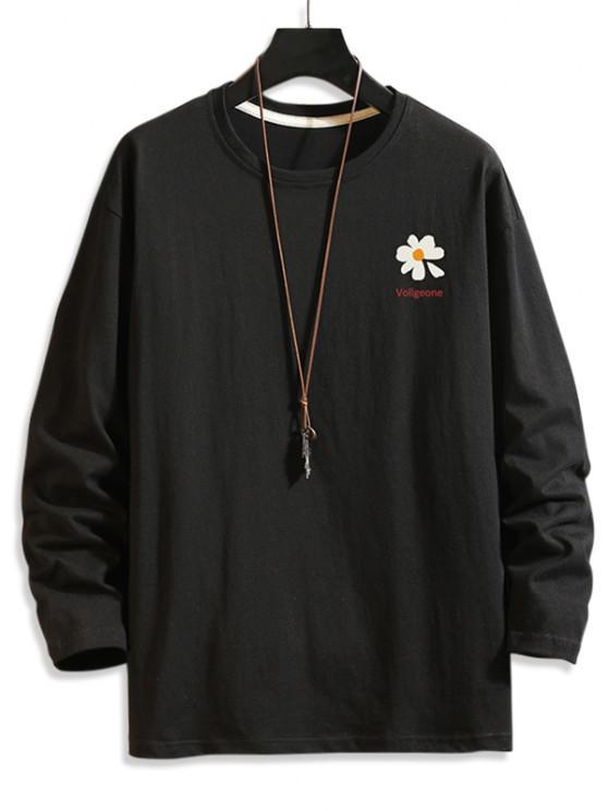 Daisy Graphic Drop Shoulder Long Sleeve T Shirt - أسود 2XL
