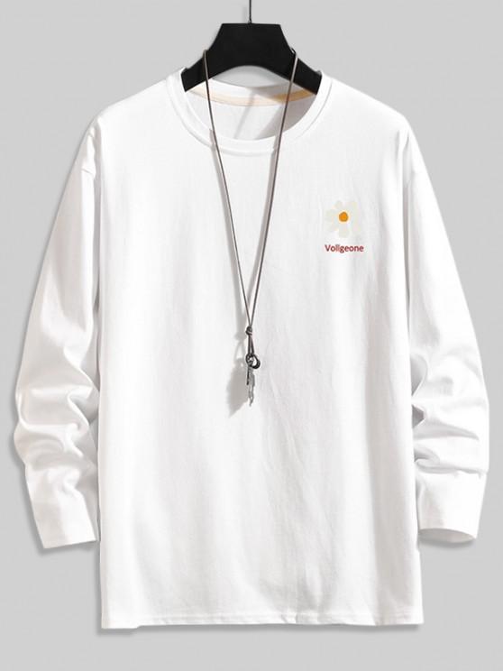 Daisy Graphik Fallschulter Langarm T-Shirt - Weiß 4XL
