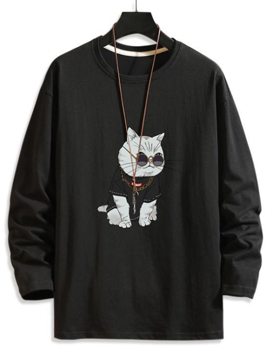 Cool Cat Print Basic T-shirt - أسود 3XL