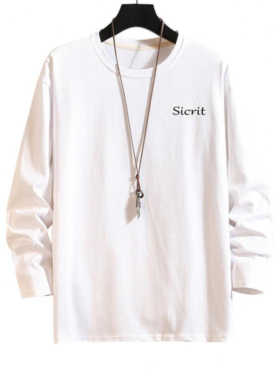 Letter Graphic Crew Neck Drop Shoulder T Shirt - أبيض 4XL