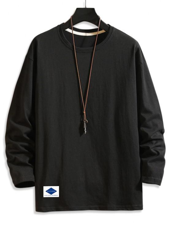 Letter Graphic Print Long Sleeve Basic T-shirt - أسود 2XL