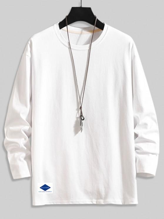 Letter Graphic Print Long Sleeve Basic T-shirt - أبيض 2XL
