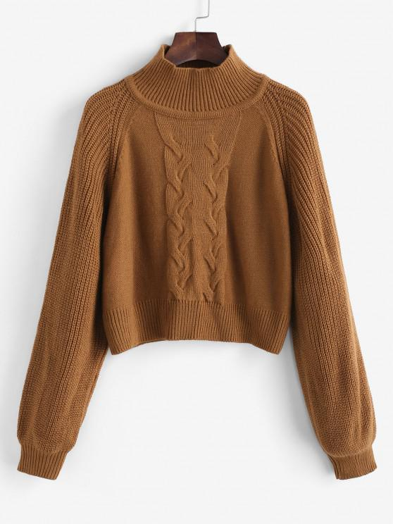 ZAFUL Mock Neck Raglan Sleeve Cable Knit Sweater - قهوة S