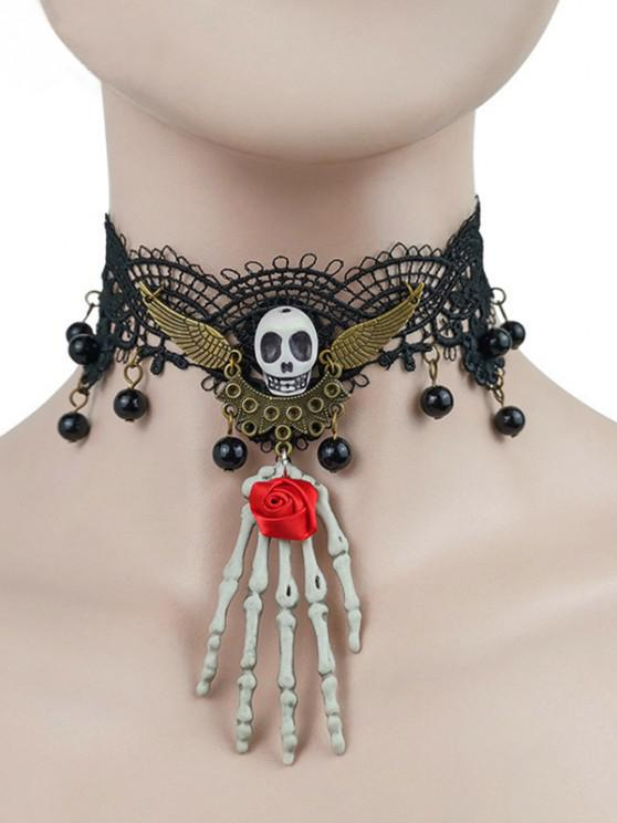 Halloween Skull Rose Lace Choker Necklace - أسود