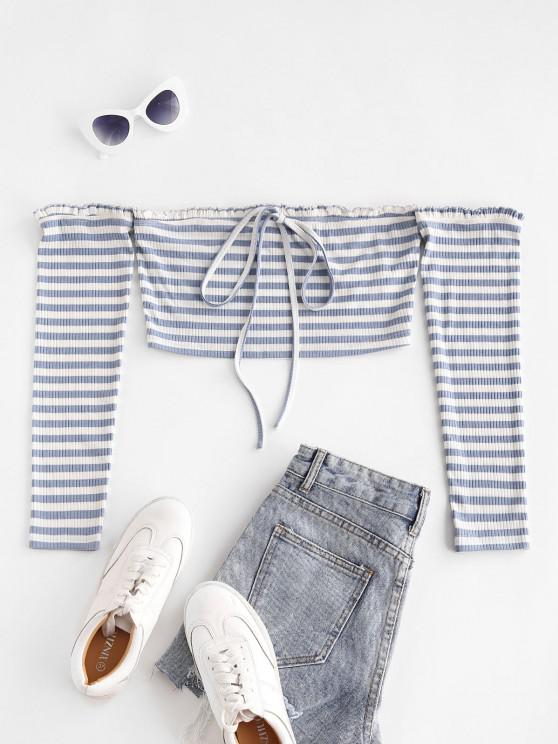 hot ZAFUL Stripe Off The Shoulder Crop Tee - BLUE GRAY XL