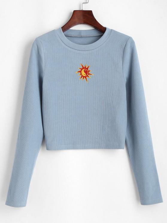 ZAFUL Oriental Sun Embroidered Knitted Crop Sweatshirt - ازرق رمادي L
