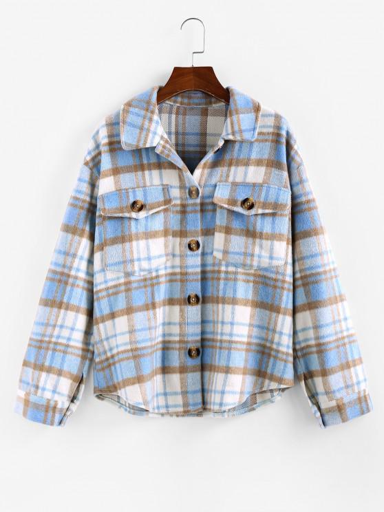 womens ZAFUL Plaid Drop Shoulder Pocket Jacket - LIGHT BLUE M