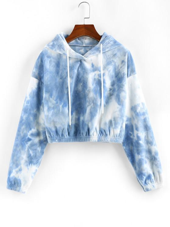 hot ZAFUL Tie Dye Drop Shoulder Crop Hoodie - LIGHT BLUE S