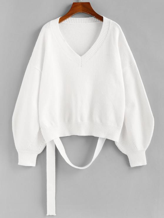 shops ZAFUL V Neck Lantern Sleeve Sweater - WHITE L
