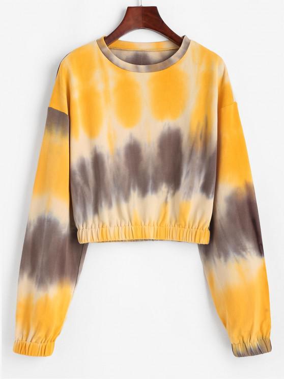 latest ZAFUL Tie Dye Drop Shoulder Elastic Hem Sweatshirt - RUBBER DUCKY YELLOW S