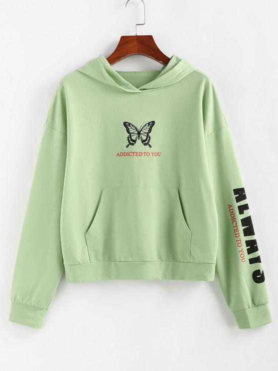 fancy ZAFUL Letter Butterfly Letter Print Graphic Hoodie - LIGHT GREEN S