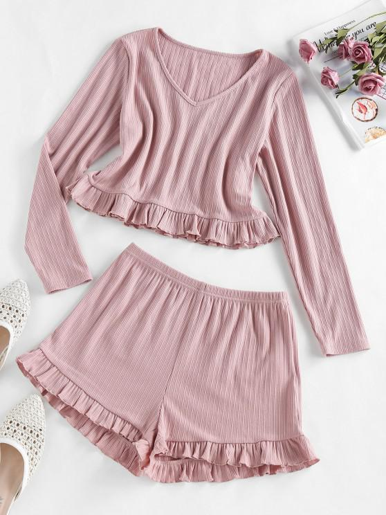 chic ZAFUL Ribbed Ruffle V Neck Pajama Shorts Set - LIPSTICK PINK L