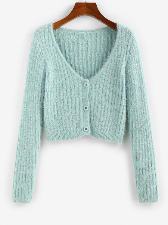 ZAFUL Fuzzy Button Up Plunging Cardigan - اخضر فاتح S